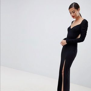 d4eda784479 Asos ruched sleeve sweetheart neck maxi dress